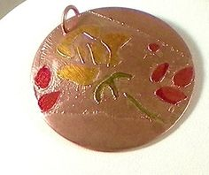 Copper  Flower Necklace Etched Enamel Pendant by HGWjewelrydesigns, $38.00
