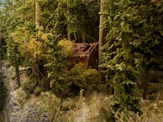 Little abandoned cabin overgrown with brush, may add a Hobo Camp Ho Trains, Model Trains, Black Sabbath Album Covers, Ho Train Layouts, Scrubs, Backdrops, Oc, Scenery, Trees