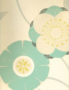 Jangala Rose Wallpaper from Osborne & Little. white/aqua/chartreuse/charcoal