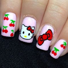 Hello kitty nail designs short nails tips to make at home nails hello kitty nails 53 best hello kitty nail art prinsesfo Image collections