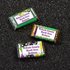 Our personalized Mardi Gras Mini Candy Bar Wrappers are printed with your choice of our fabulous Mardi Gras designs and your custom wording.
