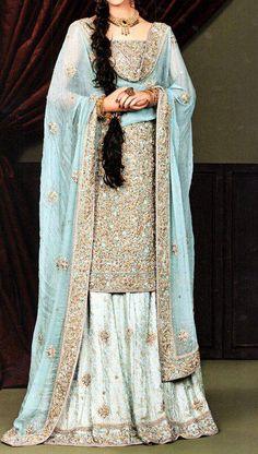 Lovely blue lehenga   good for a walima or nikah   golden shirt with blue dupatta and white lehenga   Pakistani weddings