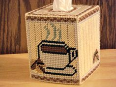 Coffee Tissue Box Cover Coffee Cup Roasted by ShanaysCreation