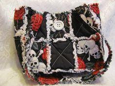 Skulls and Roses in Black Inspired Handbag/ by morethanbearscrafts