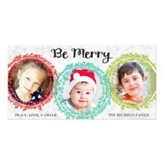 Colorful Wreaths Three Photo Holiday Photo Card by Orabella Prints