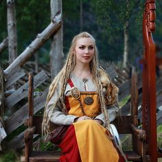 #tbt She in a nutshell ~ Daydreaming of The #Viking Age (..the dress has been re-sewn to fit my body better Making one's own clothes is both fun and challenging✨ And yes, I have many upcoming #vikingclothing projects - stay tuned) #blonde #braids #heathen #pagan #norse #longhair