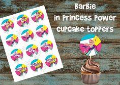 Barbie in Princess Power cupcakes, Barbie in Princess Power toppers, Barbie in Princess Power cupcake toppers, Barbie in Princess Power cake, Barbie in Princess Power tags, Barbie in Princess Power party, Barbie in Princess Power birthday