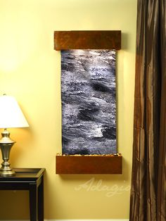 This series of wall mounted water features is aptly named the Cascade Springs wall fountain. Built to last we offer our clients the opportunity to create a living wealth of energy and beauty in any indoor environment. Modern Fountain, Indoor Water Features, Copper And Marble, Bronze Mirror, Water Walls, Travertine, Interior Walls, Outdoor Walls, Wall Mount