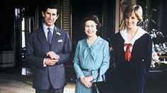 Photo by unknown in 1981 of Prince Charles, his fiancee  Lady Diana Spencer & Queen Elizabeth II pose for pictures together for the 1st time at Buckingham Palace, London, UK. Charles & Elizabeth II had attended a privy council meeting that day which gave him permission to marry.