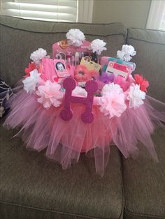 Baby gift ideas wrapping baby gifts baby shower gift for girls tutu baby shower basket diy from laundry basket negle Image collections