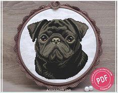 Where the Dog Is Tan Black Pug Cross Stitch Pattern   Etsy Corgi Cross, Black Pug, Dog Pattern, Dog Portraits, Dog Art, Digital Pattern, Dog Lover Gifts, Pugs, Dog Breeds