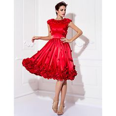Homecoming Cocktail Party/Prom Dress - Ruby Plus Sizes A-line Jewel Knee-length Stretch Satin – USD $ 123.49
