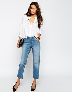 ASOS Thea Midrise Girlfriend Jeans in Miami Vintage Blue with Displaced Knee Rips