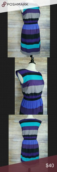 Ann Taylor LOFT Striped Dress Stunning jewel-toned striped dress. Elastic waist. So comfortable and easy to keep wrinkle-free! No flaws and looks brand new! Ann Taylor Dresses Midi