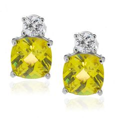 Sterling Silver Yellow and Clear CZ Stud Earrings - Artune Jewelry Online
