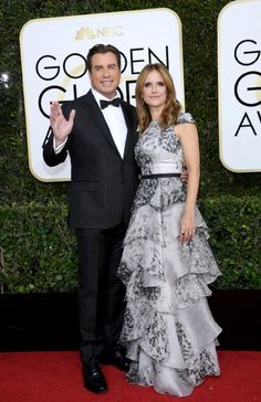 John Travolta and Kelly Preston at an event for The 74th Golden Globe Awards (2017) John Travolta Kelly Preston, Golden Globe Awards 2017, Charlotte Riley, Bridesmaid Dresses, Wedding Dresses, Celebs, Celebrities, Golden Globes, Celebrity Couples