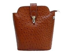 SMALL DARK TAN GENUINE OSTRICH LEATHER BAG WITH LONG SHOULDER STRAP A-SHU.CO.UK, £26.99