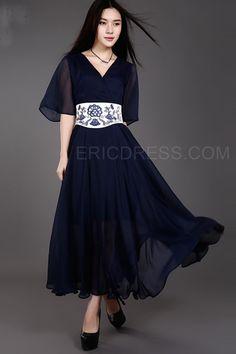 Ericdress A-Line Half Sleeve Embroidery Maxi Dress Maximum Style