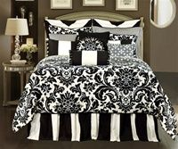"Symphony By Rose Tree, Designer oversize black and white comforter, formal damask print, 100% cotton, elegant detailing includes braided cording, tassels and exquisite mitering, lined draperies and valances, 18"" bedskirt"