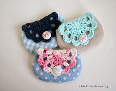 idea ~chick chick sewing: Gift Making - Crochet Doily and Linen Pouches ♪ かぎ針編みのドイリーポーチ作り