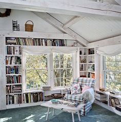 home library Reading nook with built-in bookshelves - Storage Ideas: Clever Bookshelf Ideas - Cabin Life Magazine Home Library Design, House Design, Attic Library, Dream Library, Library Bedroom, Attic Playroom, Attic Design, Attic Remodel, Attic Renovation