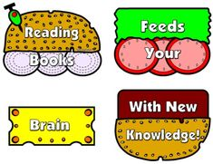 """""""Reading Books Feeds Your Brain With New Knowledge!"""" This colorful reading bulletin board display measures 9 x 21 inches.  It is a FREE BONUS that is included as part of the Cheeseburger Book Report Project that is available on Unique Teaching Resources."""
