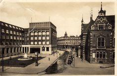 Vlevo Moravská Spořitelna,vpravo Německý dům 1938.