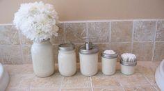 Mason Jar Bathroom Accessory Sets with Soap Dispenser, Toothbrush Holder more #Mason