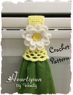 CROCHET PATTERN for Kitchen or Bath Towel by HeartspunByWendy