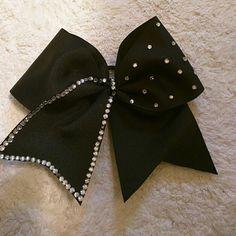 NEW SEQUINE CHEER BOW NEW BLACK AND SILVER SEQUINE CHEER BOW Accessories Hair Accessories