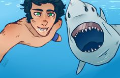 Percy's selfie with a shark.