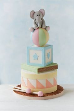 Baby Shower Cake For Boys Elephant First Birthdays 44 Ideas Gateau Baby Shower, Baby Shower Cakes, Baby Boy Cakes, Cakes For Boys, Pastel Mickey, Elephant Cakes, Elephant Baby, Elephant Theme, Cupcakes Decorados
