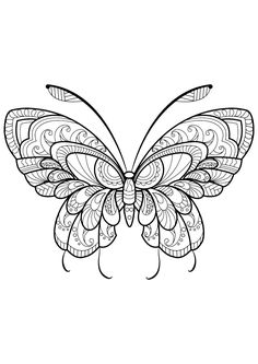 This adult coloring book with beautiful butterfly pictures to color is very easy to use. Multiple color palettes and a personal gallery of your own works, along with calming, relaxing background music, make this anti stress coloring book for adults a. Insect Coloring Pages, Butterfly Coloring Page, Easy Coloring Pages, Mandala Coloring Pages, Free Printable Coloring Pages, Coloring Pages For Grown Ups, Butterfly Pictures To Color, Beautiful Butterfly Pictures, Colorful Pictures