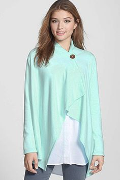 Bobeau One-Button Fleece Wrap Cardigan (Regular & Petite) Cocoon Cardigan, Wrap Cardigan, Fleece Cardigan, Europe Outfits, Uk Summer, Wrap Style, My Style, Scotland Travel, Spring Fashion