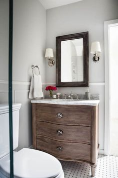 Empire Rosette Single Vanity Sink, Transitional, Bathroom, Benjamin Moore Gray Owl, Niche Interiors dry wall then railings for accent Owl Bathroom, Bathroom Tile Designs, Bathroom Design Small, Basement Bathroom, Master Bathroom, Bathroom Ideas, Bathroom Faucets, Bathroom Layout, Condo Bathroom