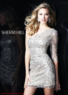 Sherri Hill 2753 - Silver and Nude One Shoulder Cocktail Dress