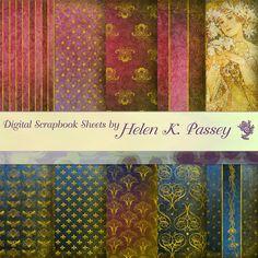Digital Scrapbook Paper Set Jewel-Tone Art Nouveau by VagrantAirs