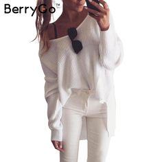 BerryGo Sexy fuera del hombro de split suéter de punto géneros de punto jerseys Otoño invierno de Mujer de marca negro 2016 blanco jumper pull femme