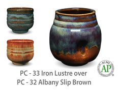 AMACO Potter's Choice layered glazes PC-32 Albany Slip Brown and PC-33 Iron Lustre.