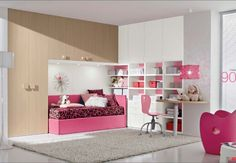 Pink Room For The Girl of Space-Saving Modern Kids Room Furniture Read great articles on the latest 2013 #bedroom trends here http://articles.builderscrack.co.nz/tag/bedroom/ or hire a professional today from #Builderscrack http://builderscrack.co.nz/post-job-desc