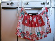 vintage style apron in red, white, and aqua