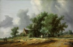 Salomon van Ruysdael - Road in the Dunes with a Passanger Coach.