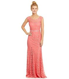 Sequin Hearts CapSleeve Lace Gown #Dillards - If I go...I would love to wear this dress!