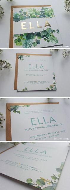Botanical birth announcement card and gold foil Ella Wedding Card Design, Wedding Designs, Wedding Cards, Invitation Fete, Invitation Design, Invitation Ideas, Wedding Stationary, Wedding Invitations, Baby Announcement Cards