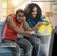 By Fleance Forkuo Black Couple Art, Black Girl Art, Black Couples, Black Women Art, Black Girl Magic, Cute Couples, Black Love Artwork, Black Art Pictures, African American Art