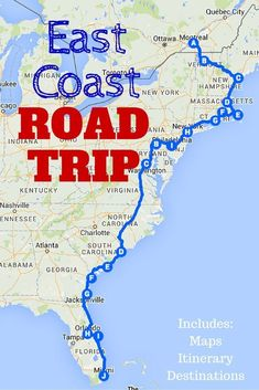The Best Ever East Coast Road Trip Itinerary! This post includes a guide to the must-visit destinations along the East Coast, detailed maps and a downloadable spreadsheet so you can customize your own East Coast road trip itinerary! #TravelDestinationsUsaFlorida #TravelDestinationsUsaEastCoast