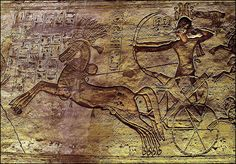 ancientart:    Rameses II and chariot at the Battle of Kadesh (1274 BC). Ancient Egyptian relief inside his Abu Simbel temple, Nubia, Southern Egypt.