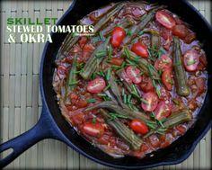 Skillet Stewed Tomatoes & Okra © A Veggie Venture.
