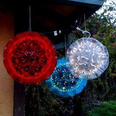 of July Sparkle ball Beaded Christmas Ornaments, Christmas Balls, Diy Christmas Gifts, Christmas Lights, Holiday Crafts, Vintage Christmas, Xmas, Patriotic Decorations, Outdoor Christmas Decorations