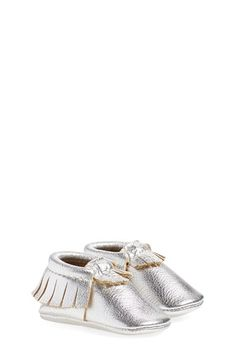 Freshly Picked Metallic Leather Moccasin (Baby & Walker) available at #Nordstrom